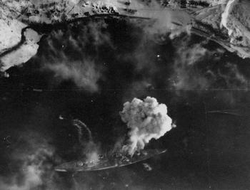 1944_Tirpitz under attack by British aircraft in Kåfjord.JPG