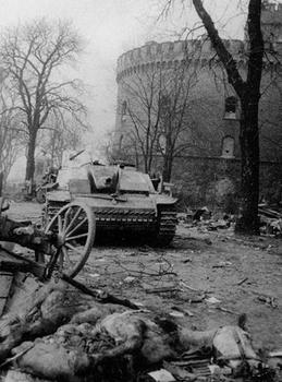 A destroyed German Stug 3 lies near the Kronprinz Barracks. April 1945. The barracks were one of the strongest German fortifications in Koenigsberg.jpg