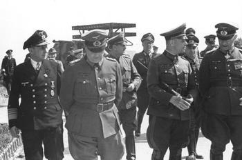 Admiral Kranke, General der Infanterie Walter Buhle, Hauptmann Lang, Generalfeldmarschall Erwin Rommel.jpeg