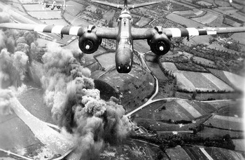 An A-20 from the 416th Bomb Group making a bomb run on D-Day.jpg