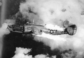B-24 on fire.JPG