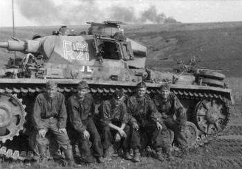 Battle of Kursk - The crew of a Pz_Kpfw_ III tank assigned to the 2nd SS Panzer Division Das Reich rests after heavy fighting near Belgorod.jpg