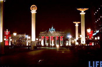Brandenburg Gate & colonnade lit up at midnight in honor of Hitler's 50th birthday.jpg