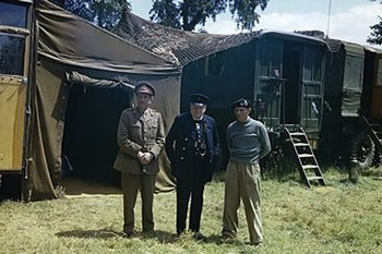 Brooke (on the left) and Churchill visit Montgomery's mobile headquarters in Normandy, 12 June 1944.jpg