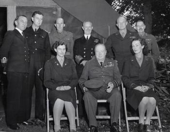 Churchill and Ike's driver, British Officer Kay Summersby.JPG
