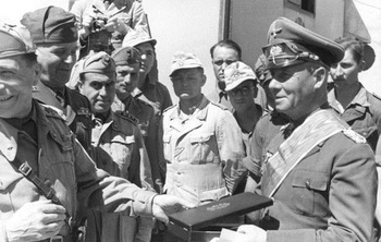 Erwin Rommel is awarded the Colonial Order of the Star of Italy.jpg