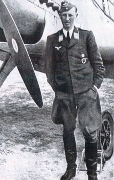 Heydrich as a Major in the Luftwaffe, posing next to a Messerschmitt BF 109.jpg