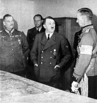 Hitler and Keitel in meeting with Finnish General Öhquist in Germany, 1941.jpg