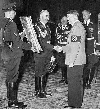 Hitler is presented with a painting of his hero, Frederick the Great, by Heinrich Himmler.jpg