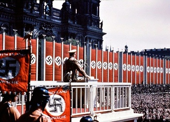 Hitler speaking at the Lustgarden in Berlin, May 1938.jpg
