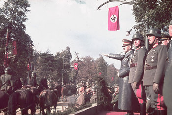 Hitler views the victory parade in Warsaw 1939.jpg
