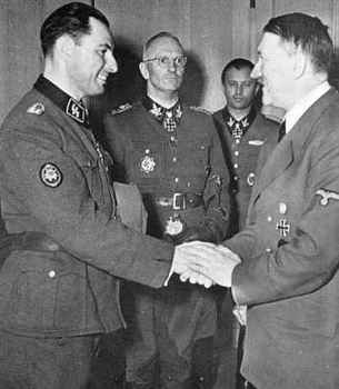 Leon Degrelle, Otto Gille, Hermann Fegelein and Hitler.jpg