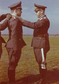 Manfred Meurer, seen here receiving the Ritterkreuz out of the hands of Gen. Josef Kammhuber.jpg