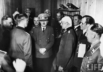 Martin Bormann, Adolf Hitler, Alfred Jodl, Albert Bormann, Luftwaffe adjutant Nicolaus Von Below, and Hitler's pilot Hans Baur of Wolfschanze.jpg