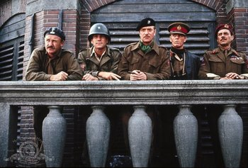 Michael Caine, Gene Hackman, Dirk Bogarde, Edward Fox and Ryan O'Neal in A Bridge Too Far.jpg