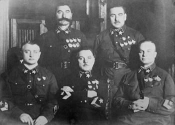 Mikhail Tukhachevsky, Semyon Budyonny, Kliment Voroshilov, Vasily Blyukher, Aleksandr Yegorov.jpg