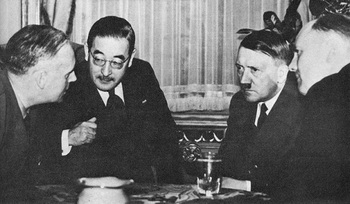 Ribbentrop, Kurusu, and Hitler negotiate the Tripartite Pact, 1940.jpg