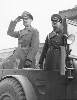 Rundstedt and Blaskowitz reviewing the German victory parade before the opera house in Warsaw, Poland, 2 Oct 1939.jpg