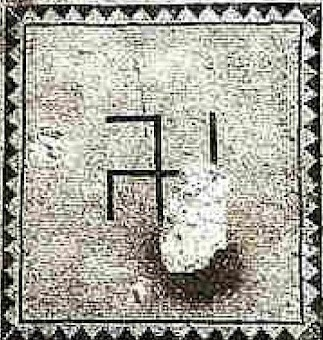Swastika on Ein Gedi synagogue mosaic floor. Discovered 1965.jpg