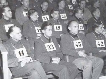 The Waffen SS defendants during the Dachau trial - 11 Sepp Dietrich,33 Krämer,45 Priess,42 Peiper,8 Coblenz,13 Fischer,19 Gruhle,23 Henneck,31 Knittel,34 Kuhn,39 Munkemer.jpg