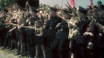 Young crowds greet Hitler at Fallersleben Volkswagen Works cornerstone ceremony.jpg