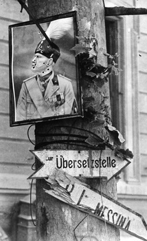 A bullet-holed portrait of Italian dictator Benito Mussolini fixed to a tree.jpg