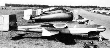 A line up of Heinkel He 162 A-2s at Leck May 1945.jpg