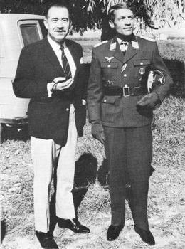 Adolf Galland with Manfred Reddermann, who plays Major Falke.JPG