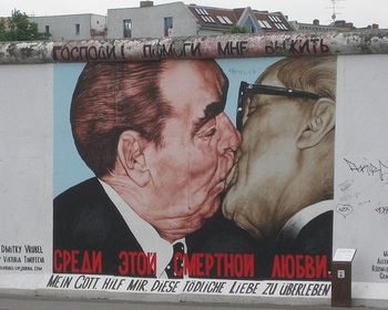 Berlin Wall, showing the famous kiss between Brezhnev and Honecker.jpg
