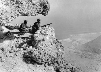 British intelligence agents monitor the movements of the enemy on the Western Desert near the Egyptian-Libyan border in Egypt.jpg