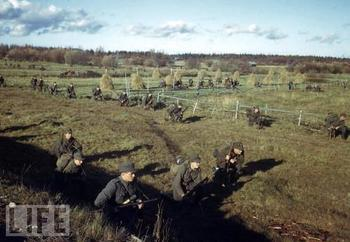 Finnish infantry batallion as it begins the encircling maneuvers against Germans positions in Lapland, Finland, October 1944.jpg