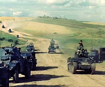 German Panzer columns on the move.jpg