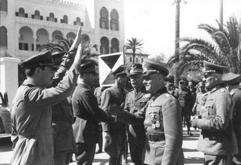 Italian General Gariboldi、 Erwin Rommel and Johannes Streich to Tripoli, Libya, 12 Feb 1941.jpg