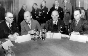 Judges of the International War Crimes Tribunal,M. Donnedieu de Vabres of France, Frances J. Biddle, United States; Lord Justice Lawrence, Great Britain; and Major General I. J. Nikitchenk, USSR.jpg