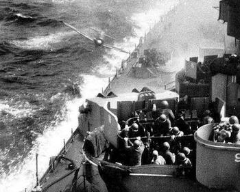KAMIKAZE! A Japanese Zero kamikaze fighter about to crash into the battleship Missouri off Okinawa,.jpg