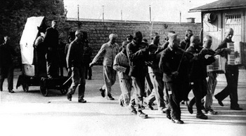 Mauthausen Camp, 1943, prisoners being led to their execution accompanied by the camp orchestra.jpg