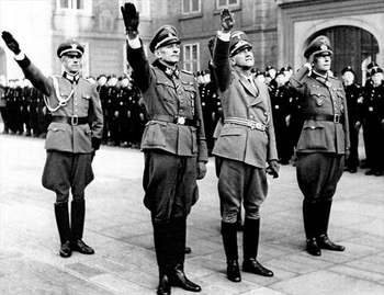 Obergruppenführer K. H. Frank, Protector of Bohemia and Moravia Wilhelm Frick and army commander of Bohemia and Moravia Ferdinand Schaal.jpg