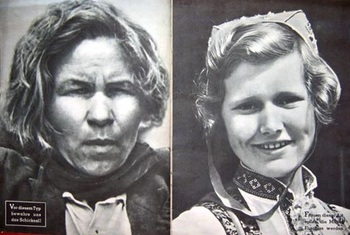 Russian subhuman woman compared to a happy German Aryan.jpg