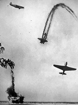Soviet MiG-3 and Yak-9, downed German bomber Junkers Ju-88.jpg