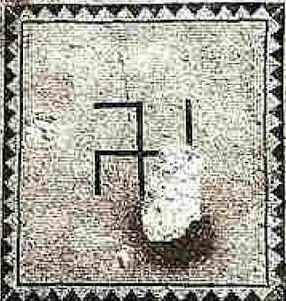 Swastika on Ein Gedi synagogue mosaic floor. Discovered 1965.jpg