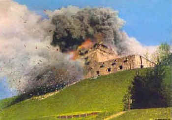 To deter tourists, sight-seers, and neo-Nazis, the Bavarian government blew up the ruins of the Berghof on 30 April 1952.jpg