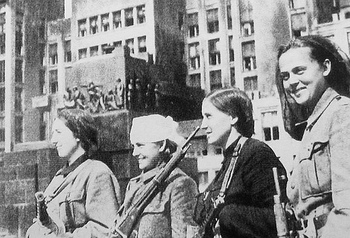 Women soviet (ukranian) partisans in liberated Minsk, 1944.jpg