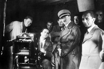 propaganda minister Goebbels - The Patron of German Film - with his boss Adolf Hitler at UFA. Hitler liked films.jpg