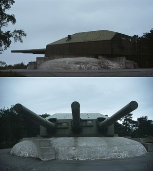 three 28 cm guns in a single turret from the battleship Gneisenau.jpg